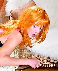 Fiery crossdresser in a sexy gown and undies invites his mate for butt play