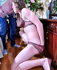 Kinky sissy gets his lacy panties jizzed after a gay butt-balling session