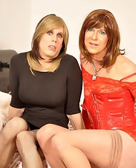Well hung crossdresser sluts sucking each others cocks nice and hard.