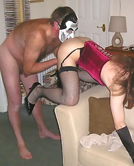 Hot TGirl Kirsty spanks her crossdressing maid's tight ass, and then gets rewarded with her mouth and pussy fucked