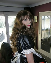 Slutty Crossdressing maid cleaning her Mistresses house, and hoping for some kinky punishment