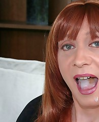 Horny TGirl lays back on her chair and masturbates her hard cock.