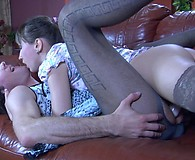 Dressy and wigged sissy boy gets talked into a strapon quickie by his girl