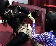 This tranny slut gets her ass punished by gorgeous FemDom Helga