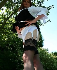 Nice outdoor shoot of Lucimay in stockings