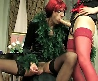 Salacious French maid spreading sissy guy's bumhole with her huge strap-on