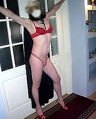Hot and sexy crossdresser in a selection of underwear
