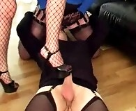 Nylon Bitch Yvette and a gorgeous Femdom punishes a sissy little crossdresser.